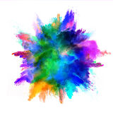 Explosion of colored powder on white background Royalty Free Stock Images