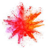 Explosion of colored powder on white background. Explosion of colored powder, isolated on white background. Power and art concept, abstract blust of colors stock images