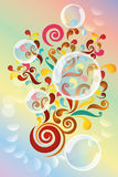 Explosion of colors. Illustration of colorful shapes and bubbles vector illustration
