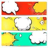 Explosion comic bubble  web header set -  banner. Comics background.  Vector illustration Royalty Free Stock Image