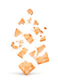 The explosion of the cracker into pieces royalty free stock photos