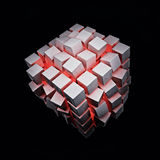 Explosion Cube With Red Light Stock Photography