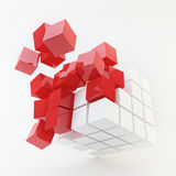 Explosion Cube Red Pattern on white Royalty Free Stock Photography