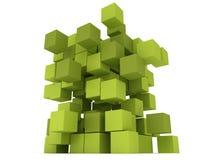 Explosion Cubes block. Assembling concept. Stock Photos