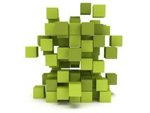 Explosion Cubes block. Assembling concept. Explosion Cubes block. Architecture assembling concept. Teamwork Business. 3D render icon Royalty Free Stock Photography
