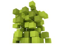 Explosion Cubes block. Assembling concept. Stock Photos