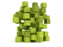 Explosion Cubes block. Assembling concept. Stock Images