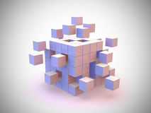 Explosion 3d Cube Royalty Free Stock Image