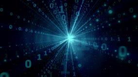 Explosion d'informations numériques dans le cyberespace, courants binaires volant à l'appareil-photo, rayonnement numérique - bou illustration stock