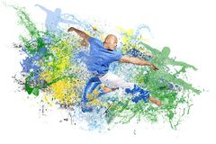 Explosion of dance. Water explosion with jumping dancer man Royalty Free Stock Photography