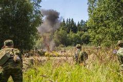 Explosion dans la forêt Images libres de droits