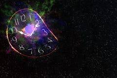 Explosion dans la galaxie avec l'horloge, fond abstrait photographie stock libre de droits
