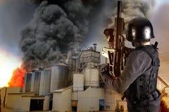 Explosion dans une industrie Images libres de droits
