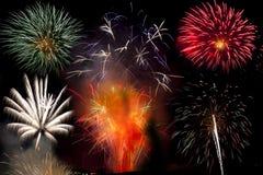 Explosion de feu d'artifice de nuit de feu Photos libres de droits