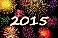 Explosion de feux d'artifice de la nouvelle année 2015 photo stock