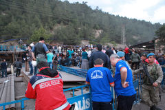 EXPLOSION DE MINE DE CHARBON AU SOMA, MANISA Photographie stock libre de droits