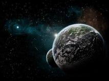 Explosion de planète - exploration d'univers illustration de vecteur