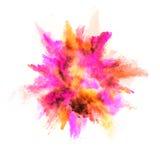 Explosion de poudre colorée sur le fond blanc Photos libres de droits