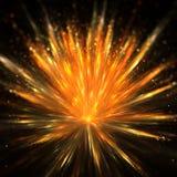 Explosion de poudre d'or avec la profondeur du champ Photos libres de droits