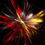 Explosion de poudre jaune, rouge et blanche avec la profondeur du champ Photo stock