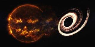 Explosion de Sun près de trou noir illustration stock