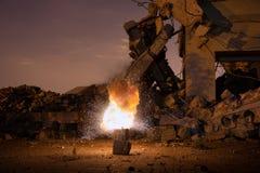 Explosion in der alten Halle Lizenzfreies Stockfoto