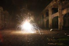Explosion in der alten Halle - lange Belichtung Lizenzfreie Stockfotos