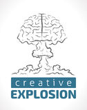 Explosion der Kreativität - menschliches Gehirn als Kernexplosion Stockbilder