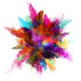 Explosion des farbigen Pulvers auf weißem Hintergrund Stockfotos