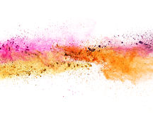 Explosion des farbigen Pulvers auf weißem Hintergrund Lizenzfreies Stockbild