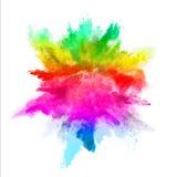 Explosion des farbigen Pulvers auf weißem Hintergrund Stockbild