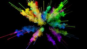 Explosion des Pulvers lokalisiert auf schwarzem Hintergrund Animation 3d von Partikeln als bunten Hintergrund- oder Überlagerungs vektor abbildung