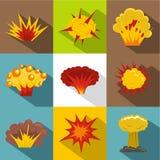 Explosion destruction icon set, flat style. Explosion destruction icon set. Flat style set of 9 explosion destruction vector icons for web design Royalty Free Stock Photo