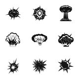 Explosion destruction icons set, simple style. Explosion destruction icons set. Simple set of 9 explosion destruction vector icons for web isolated on white Royalty Free Stock Photography