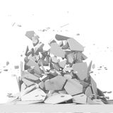 Explosion destruction with many chaotic fragments Royalty Free Stock Photography