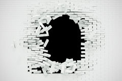 Explosion, destruction of a white brick wall, abstract background for Template for a content. 3d illustration. Explosion, destruction of a white brick wall Stock Photo