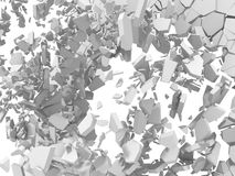 Explosion destruction of white wall. Chaotic fragments of surfac Royalty Free Stock Images