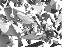 Explosion destruction of white wall. Chaotic fragments of surfac Stock Images