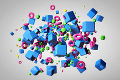 Explosion of different 3D objects in empty space. 3d render image Royalty Free Stock Image