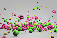 Explosion of different 3D objects in empty space. 3d render image Royalty Free Stock Images
