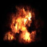 Explosion du feu sur le fond noir Image libre de droits