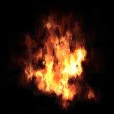 Explosion du feu sur le fond noir Photographie stock