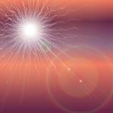 Explosion du soleil dans le ciel foncé Fond de révélation d'apocalypse Images libres de droits