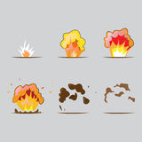 Explosion effect in cartoon style. Effect boom, explode flash. Illustration in vector. Animation frames for game Stock Photos