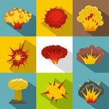 Explosion effect icon set, flat style. Explosion effect icon set. Flat style set of 9 explosion effect vector icons for web design Stock Photos