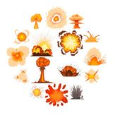Explosion effect icons set, cartoon style. Explosion effect icons set. Cartoon illustration of 16 explosion effect vector icons for web Stock Photo