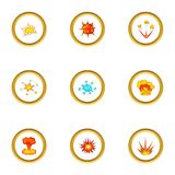 Explosion effect icons set, cartoon style. Explosion effect icons set. Cartoon style set of 9 explosion effect vector icons for web design Royalty Free Stock Images