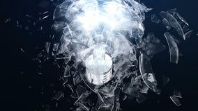 Explosion einer Glühlampe- oder lighbirne Stückchen der Glasfliege auseinander in den verschiedenen Richtungen Der Effekt von lizenzfreie abbildung