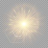 Explosion eines goldenen Sternes mit einem grellen Glanz lizenzfreie abbildung