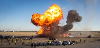 Explosion in a emergency simulacrum royalty free stock photography